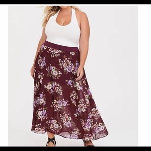 Torrid Red wine Floral Chiffon skirt with short 2X